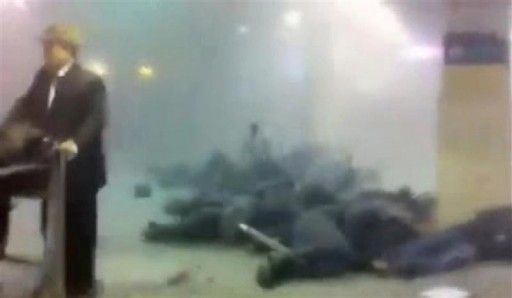 Victims of a bomb explosion are seen at Moscow's Domodedovo airport in this still image taken from mobile phone footage January 24, 2011. A suicide bomber killed at least 31 people and injured more than 130 on Monday at Moscow's Domodedovo airport, Russia's biggest.   REUTERS/Djem79/Reuters TV