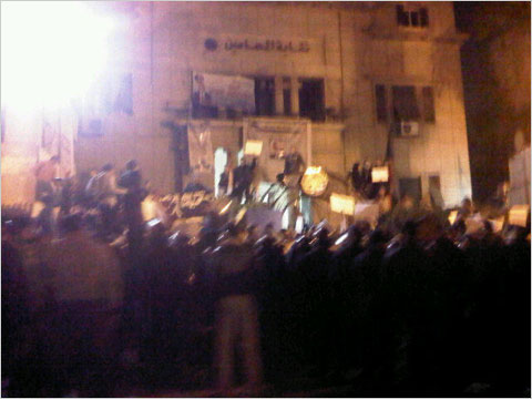An Egyptian blogger's photograph of protesters gathered outside the lawyers' syndicate in Cairo on Wednesday night. Gigi Ibrahim/Yfrog