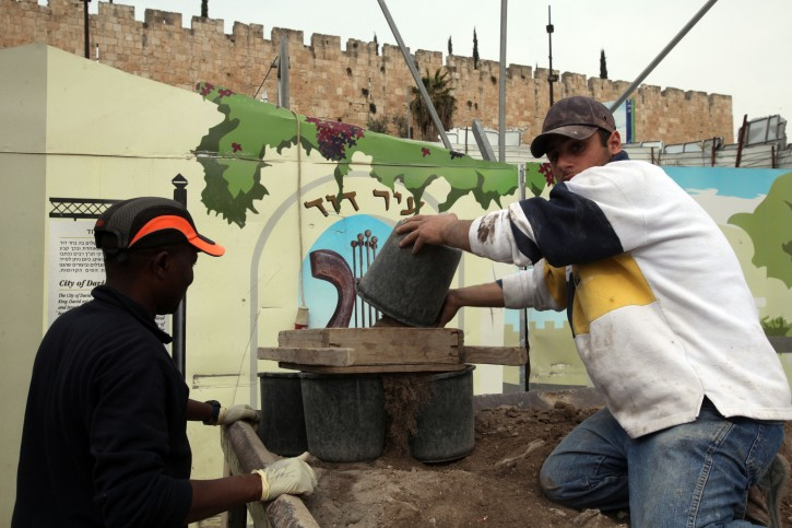 The Israel Antiquities Authority has completed on January 25 2011 an archaeological dig of a tunnel that will enable visitors to cross under the walls of Jerusalem's Old City, not far from the Temple Mount. The tunnel, which was uncovered during excavations conducted over the past few months, was formerly used for drainage and dates back to the Second Temple. It links the City of David in Silwan with the Archaeological Park & Davidson Center, which is located near the Western Wall. Photo by Yossi Zamir/Flash90.