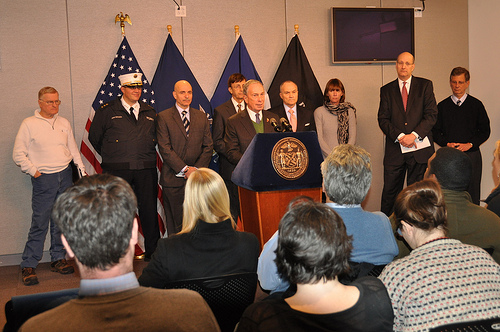 Mayor Bloomberg updates New Yorkers on the city's response to the weekend blizzard at Office of Emergency Management Headquarters in Brooklyn. December 28, 2010 (Photo Credit: Samantha Modell)