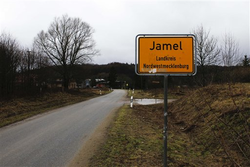 The drive in to the village of Jamel, 260 kilometer (165 Miles) north west of Berlin in the state Mecklenburg-Western Pomerania, Germany is pictured on Tuesday, Jan. 25, 2011. More than half of the residents of the tiny ten house village are connected to the far right NPD Party and the Neo-Nazi scene. (AP Photo/Markus Schreiber)