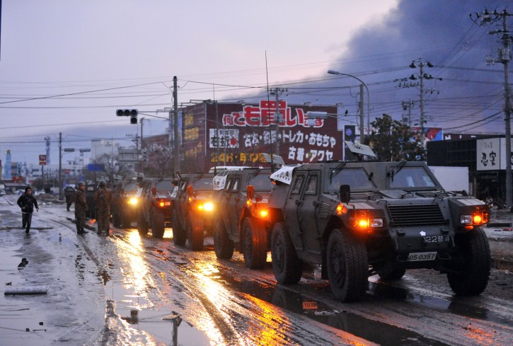 Members of Japanese Self-Defence Force  prepare a convoy for search and rescue operations  in Tagajo, Miyagi Prefecture, northern Japan, about 220km north of Tokyo,13 March, 2011 after strong earthquakes and tsunami hit northern Japan and Japanese capital of Tokyo area on 11 March. Japanese police say that the number of people killed in the disaster could surpass 10,000  EPA/KIMIMASA MAYAMA