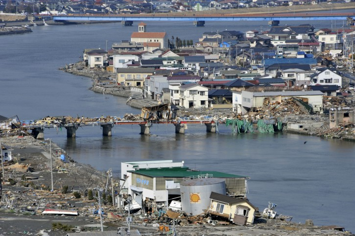 A partial view of the tsunami-devastated area of Ishinomaki is seen in Miyagi Prefecture, northern Japan, about 270km north of Tokyo,13 March, 2011 after strong earthquakes and tsunami killing more than 1,000 people were hitting northern Japan and Japanese capital of Tokyo area on 11 March.  EPA/KIMIMASA MAYAMA