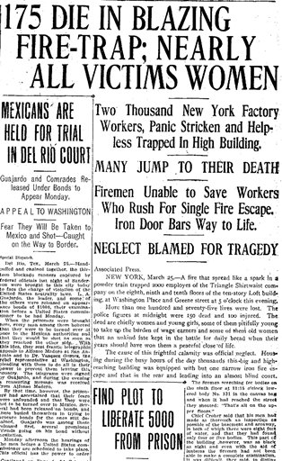 This image provided by Newspaperarchive.com shows a detail from the front page of the San Antonio Light newspaper edition of Sunday, March 26, 1911, with headlines the day after the Triangle Shirtwaist Company fire in New York. One hundred years ago, horrified onlookers watched as workers leapt to their deaths from the raging fire in the garment factory. The fire killed 146 workers, mainly young immigrant women and girls, and became a touchstone for the organized labor movement, spurred fire-safety laws and shed light on the lives of immigrant workers. (AP Photo)