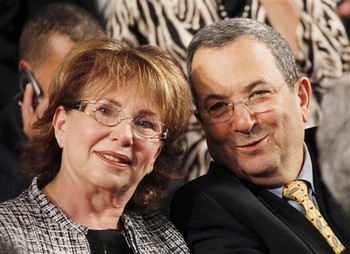 FILE - Israeli Defense Minister Ehud Barak, right, and his wife Nili Priel Sept. 21, 2010, in New York. (AP Photo/Mark Lennihan)