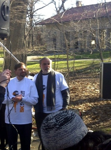 (L-R) Avi Fishoff, NY Assmplyman Dov Hikind at the 5K Run/Walkathon in Prospect Park to benefit Our Place. Sunday Morning, April 3rd, 2011