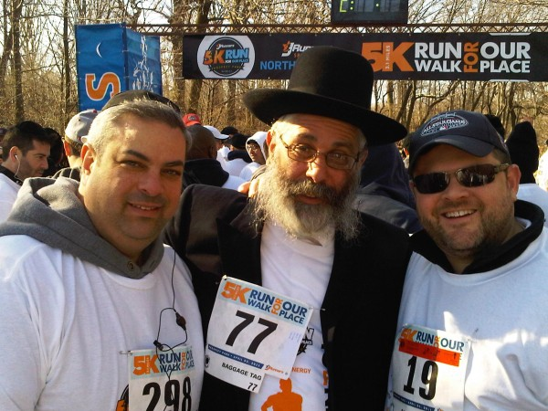 (L-R) Yossie Yurowitz, Rabbi Chaim Glancz Executive director of Our Place, Leon Goldenberg, Chaskel Bennett at the 5K Run/Walkathon in Prospect Park to benefit Our Place. Sunday Morning, April 3rd, 2011