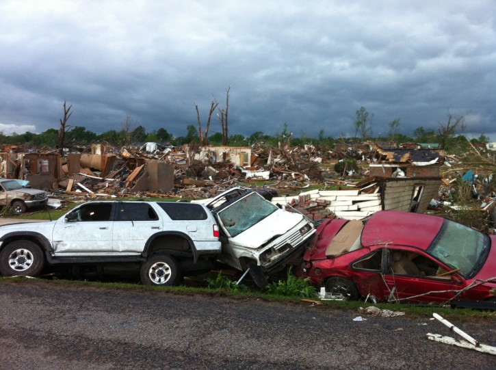 A tornado has flattened Pleasant Grove, Ala., a subdivision of Mountain Grove, Thursday, April 28. 2011. Dozens of tornadoes spawned by a powerful storm system wiped out entire towns across a wide swath of the South, killing hundreds.(AP Photo/Greg Bluestein)