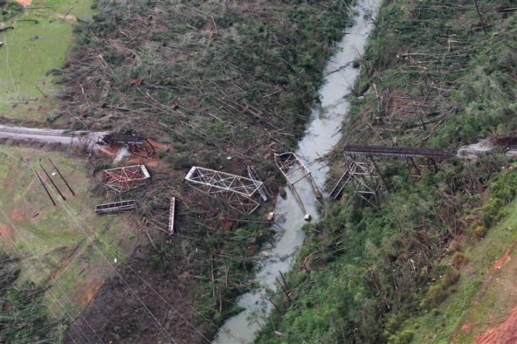 alabama tornado 2011. An aerial view shows tornado