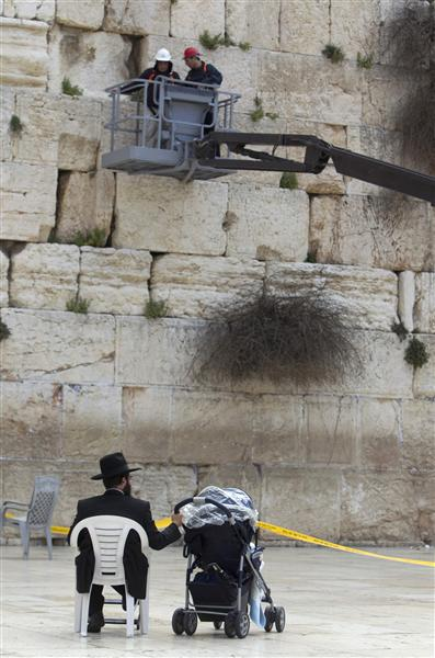 An Ultra-Orthodox Jew watches as workers check the stones of the Western Wall, Judaism's holiest prayer site, in the Old City of Jerusalem April 6, 2011. As the Jewish holiday of Passover draws near, workers checked and cleared notes out of the cracks to make room for more paper notes that Jews believe are notes to God. REUTERS/Darren Whiteside