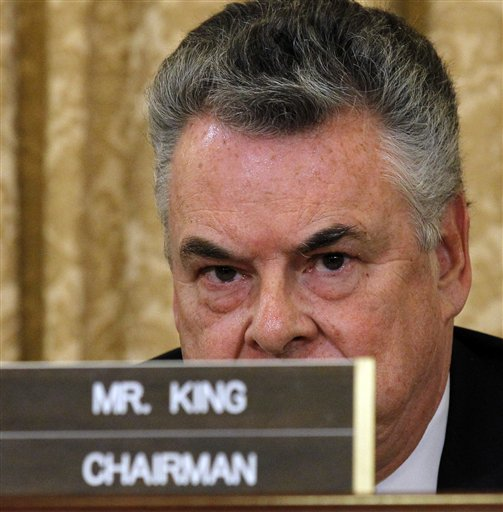 AP File - Rep. Peter King, R-N.Y., chairman of the House Homeland Security Committee, listens during a hearing on Capitol Hill in Washington, Thursday, March 10, 2011.