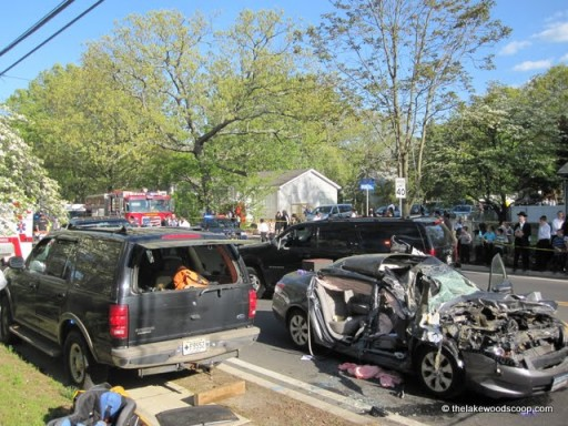 Photo credit: thelakewoodscoop.com. The 2 vehicles involved in the accident that critically injured 2 female passengers