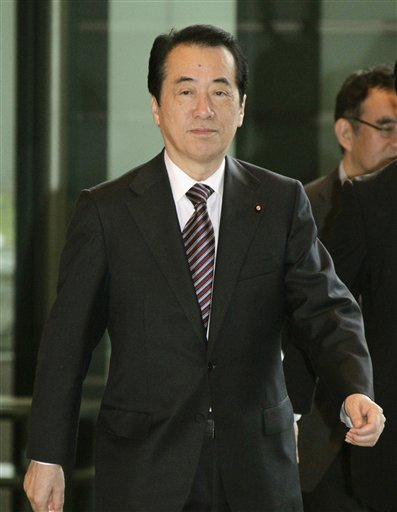 Japan's Prime Minister Naoto Kan arrives at the prime minister's official residence in Tokyo Thursday, June 2, 2011. Kan says he will consider resigning once Japan's efforts to recover from its earthquake and tsunami disaster take firm hold. AP
