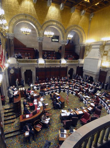 View of the Senate Chamber during a session of the New York state Senate at the Capitol in Albany, N.Y., Tuesday, June 14, 2011. (AP Photo/Hans Pennink)
