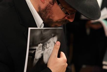 The ultra orthodox man belonging to Chabad gathered yesterday, in Jerusalem, July 4 2011 to speak about the Rabbi's passing and his legacy. Photo by Yaakov Nahumi/Flash90.