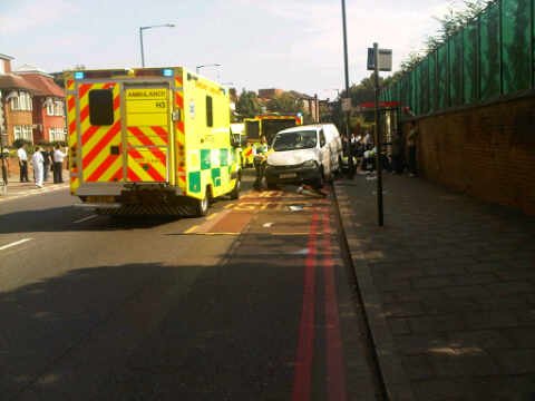 Aftermath of accident on Upper Clapton Road. Photo: http://www.hackneyhive.co.uk