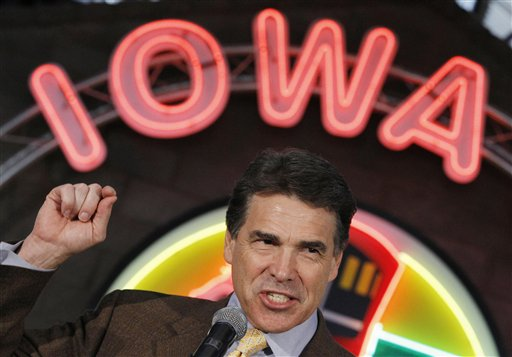 Republican presidential candidate, Texas Gov. Rick Perry makes a campaign stop at the Iowa 80 Group in Walcott, Iowa, Tuesday, Aug. 16, 2011. (AP Photo/Charles Dharapak)