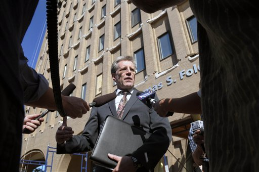 Michael Ormsby, U.S. Attorney for the Eastern District of Washington stands outside the Thomas Foley Federal Courthouse, and answers questions about the plea deal by accused MLK bomber Kevin Harpham, Wednesday, Sept. 7, 2011 in Spokane Wash. Kevin Harpham, a man with extensive ties to white supremacists pleaded guilty Wednesday to charges he planted a bomb along a Martin Luther King Jr. Day parade route in Spokane, Wash., targeting minorities.  (AP Photo/The Spokesman-Review, Christopher Anderson)  COEUR D'ALENE PRESS OUT