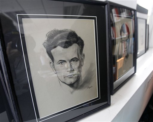 """This portrait of German concentration camp prisoner Hans Kurzweil by Jewish engraver Felix Cytrin is on display at the American Society for Yad Vashem, Thursday, Sept. 1, 2011, in New York, after a collection of 43 portraits by Cytrin were donated to the Israeli Holocaust remembrance museum by Cytrin heirs in a ceremony. The portrait is part of collection of portraits of Jewish prisoners given the dubious choice of forging fake money for the Nazis or almost certain death, famously fictionalized in the Oscar-winning film """"The Counterfeiters"""". (AP Photo/Kathy Willens)"""