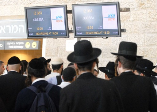 The pre-Rosh Hashanah wave of pilgrims to the town of Uman in Ukraine from Ben-Gurion International Airport. Photo by Yossi Zeliger/Flash90