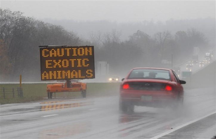 A sign posted on Interstate 70 warns drivers of animals loose in the area around Zanesville, Ohio October 19, 2011. Dozens of large exotic animals including tigers, lions and bears were hunted down and shot after their owner opened their cages at his Ohio farm and then committed suicide, officials said on Wednesday.   REUTERS/Matt Sullivan