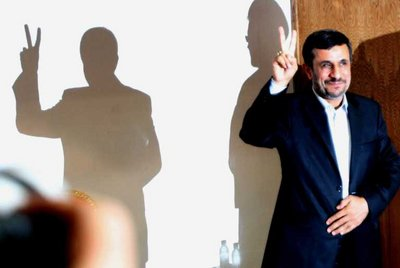 FILE - Iranian President Mahmoud Ahmadinejad flashes the victory sign before his meeting with leaders  of the Palestinian group Hamas during the 'International Conference to Support the Palestinian Intifada' in Tehran, Iran, 02 October 2011. EPA