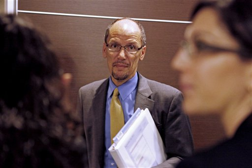 """Assistant Attorney General for the Civil Rights Division Thomas Perez is seen at the Education Department in Washington, Thursday, Sept. 22,,2011, after the second annual Federal Partners in Bullying Prevention Summit. Lawmakers have called on the Justice Department to investigate the New York Police Department intelligence program. Perez, the head of the Civil Rights Division, said Thursday he was reviewing the request, but he repeatedly refused to answer when asked if, like the NYPD documents obtained by the AP, the Justice Department considered """"American Black Muslim"""" to be an """"ancestry of interest."""" (AP Photo/Jacquelyn Martin)"""