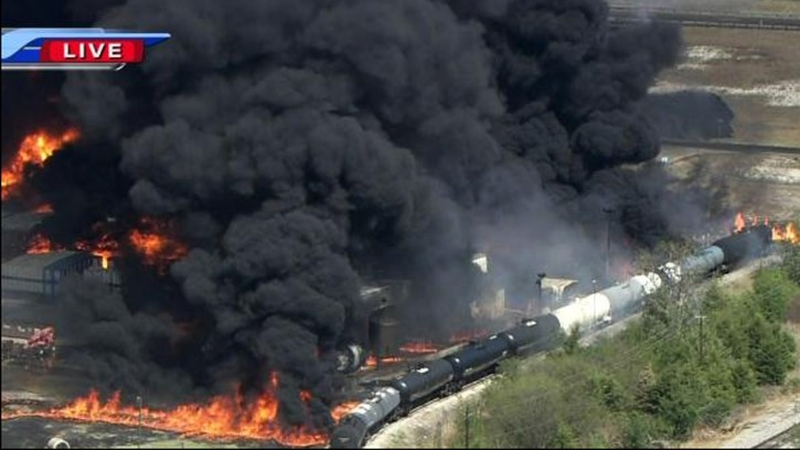 This frame grab provided by WFAA.com shows black smoke billowing from a fire at the Magnablend Chemical Plant in Waxahachie, Texas, Monday, Oct. 3, 2011. The fire prompted area schools to evacuate students. (AP Photo/WFAA.com)