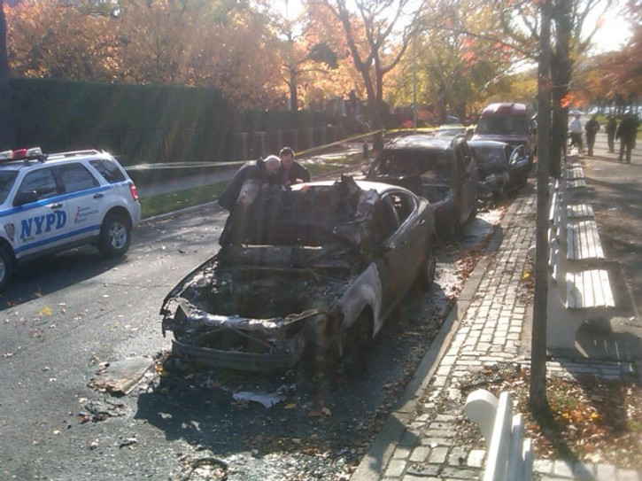 Arsonists Hit Flatbush Community burned a few cars, with anti-Semitic remarks. Photo: Shimon Gifter