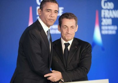 US President Barack Obama (L) and his French counterpart Nicolas Sarkozy hold a joint press conference ahead of the start of the G20 Summit of Heads of State and Government in Cannes, France, 03 November 2011. United States President Barack Obama arrived in the French town of Cannes for a meeting with French President Nicolas Sarkozy, host of a two-day summit of the Group of 20 (G20) major economies. Trade, currency issues and world governance were on the agenda of later meetings in the day.  EPA/LIONEL BONAVENTURE
