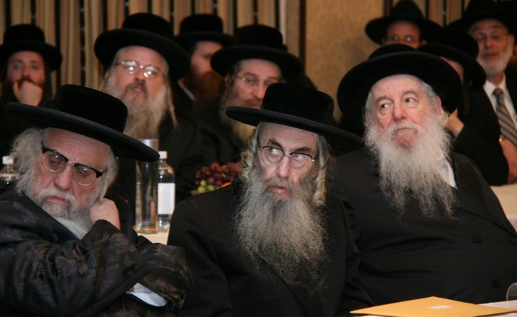 At the event, Rabbi Yechezkel Roth, Karlsburg Rabbi, Rabbi…. Rabbi Yaakov Perlow, Novominsker Rebbe