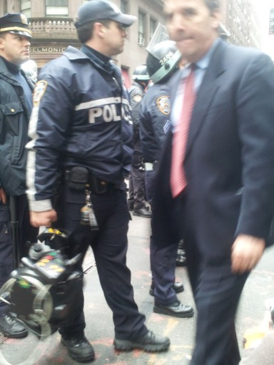 Photos of an LRAD being carried around by an NYPD officer were snapped by Joshua Paul.
