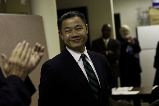 John Liu, New York's City Comptroller, speaks at the Organization of Staff Analysts meeting in New York, Nov. 17, 2011. (Uli Seit/The New York Times)