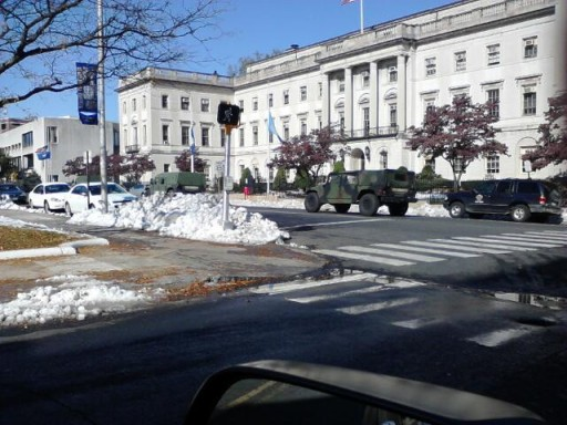 National guard patrolling the streets of Waterbury