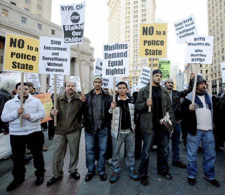 Members of the muslim community gather for Friday prayers and a rally against the New York Police department's surveillance tactics against the Muslim community in New York, New York, USA, on 18 November 2011.  EPA/JUSTIN LANE
