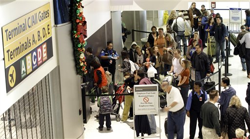Airline passengers wait in security lines as they make their way to the gates at George Bush Intercontinental Airport Wednesday, Nov. 23, 2011, in Houston. In the months of November and December alone, more than eight million passengers are expected to pass through the gates at George Bush Intercontinental and William P. Hobby  Airports according to the Houston Airport System. (AP Photo/David J. Phillip)