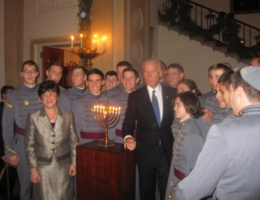VP Biden with The West Point Jewish Chapel Cadet Choir, also known as Kol Masoret, the Voice of Tradition, is an arm of the of the U.S. Military Academy's Jewish Chapel and Hillel, at the Hanukkah party Dec. 8 2011