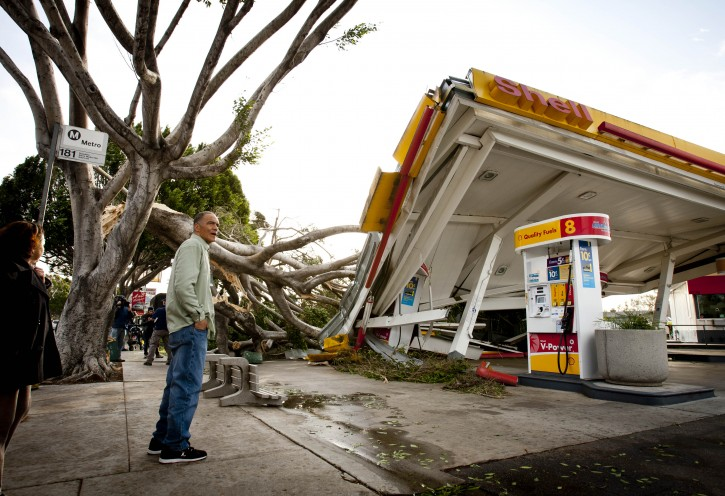Keith Curo, of Pasadena, stops to look over the damage caused by a fallen tree at a Shell gas station on the corner of North San Gabriel Avenue and East Colorado Boulevard, Thursday, Dec. 1, 2011, in Pasadena, Calif.   Some of the worst winds in years blasted through California overnight, sweeping through canyons, gusting up to 97 mph, and toppling trees and trucks while knocking out power to hundreds of thousands of people.  (AP Photo/Bret Hartman)