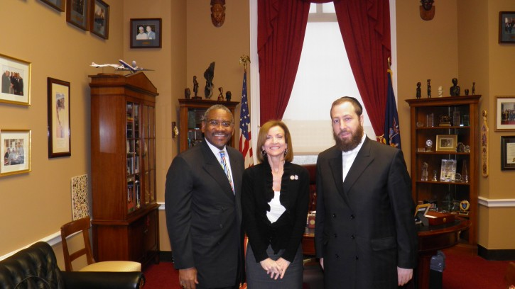 Members who introduced the Wallenberg legislation in the House of Representatives Left to Right: Congressman Gregory W. Meeks, Congresswoman  Nan Hayworth , Friedlander Group CEO Ezra Friedlander