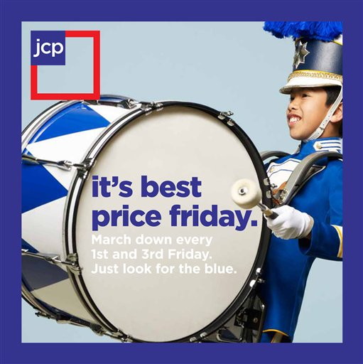 "This product image provided by J.C. Penney, shows an advertisement for ""it's best price friday"" campaign. (AP Photo/J.C. Penney)"