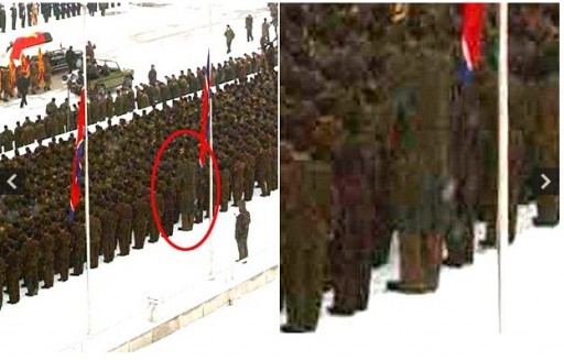 This photograph was taken by North Korea's official Korean Central News Agency (KCNA) and is one of several pictures which all appear to show the same giant soldier from different angles Photo: REUTERS