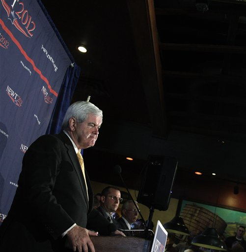 Republican presidential candidate former House Speaker Newt Gingrich speaks at a campaign rally at Great Basin Brewing Company Wednesday, Feb. 1, 2012, in Reno, Nev. (AP Photo/Ted S. Warren)