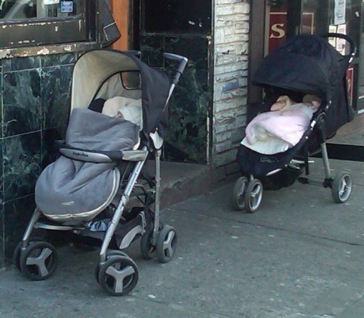 in this undated photo Two infants left unattended outside a restaurant on 13th Ave in Brooklyn, NY