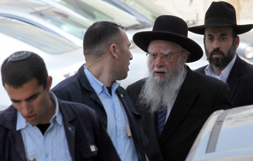 Former Chief Rabbi ELiyahu Bakshi Doron testifeid today, May 24, 2010, at the District Court in Jerusalem. Rabbi Bakshi Doron is suspected of  permitting insitutions to give to civil servants fake rabbinical certificats. Photo by Yossi Zamir/Flash90.