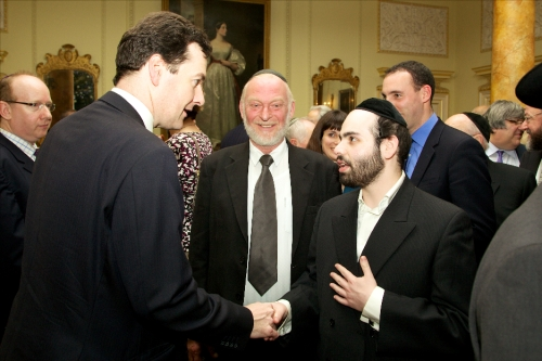 Chancellor George Osborne with Efrayim Goldstein at Number 10 Downing street , the Prime Minsters Office