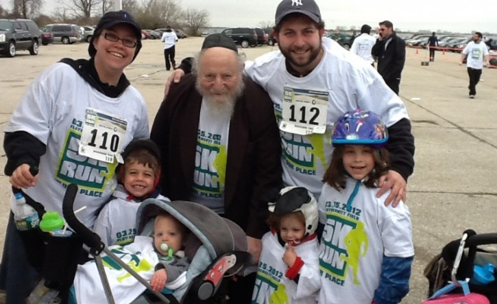 Rabbi Edgar Gluck taking part with his family
