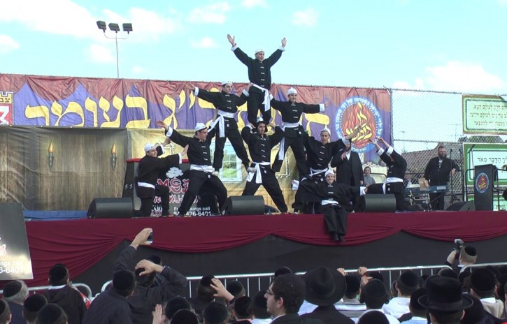 The yeshiva preforming this past Lag B'Omer parade on 18th Avenue in Brooklyn, NY