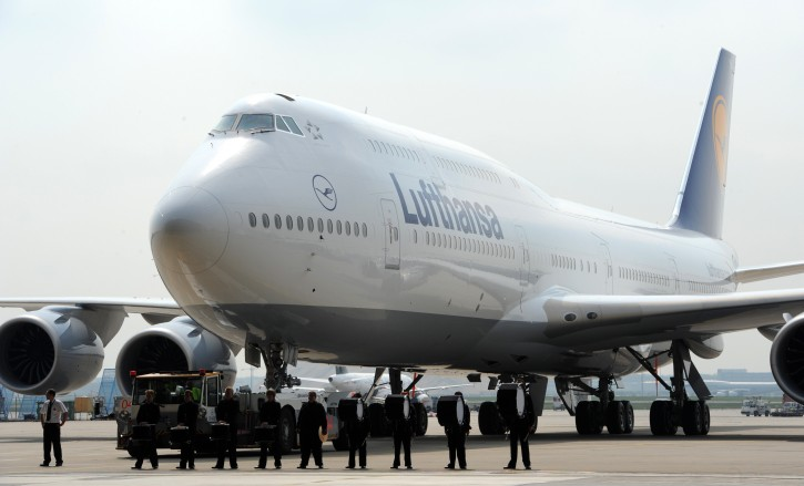 A new Boeing 747-8 of Lufthansa AG is rolled into a hangar at Frankfurt Airport in Frankfurt Main, Germany, 02 May 2012. Lufthansa is the first airline worldwide to add the new Boeing to its passenger fleet. The newly developed 747-8 is 5 metres longer than the previous model 747-400 and is supposed to be considerably quieter and more efficient.  EPA/ARNE DEDERT