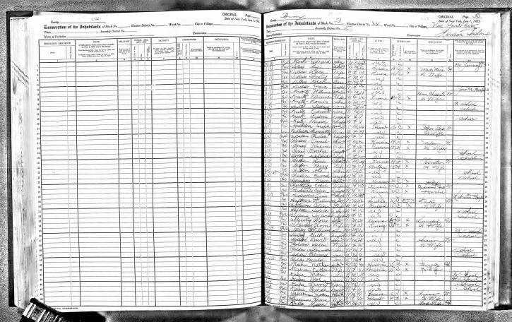This image taken from microfilm and provided by Ancestry.com shows two pages from the 1925 New York State Census that include an entry for Edward Koch, appearing at the top of the page at right. Koch, who went on to practice law and become the mayor of New York City, is one of many notable New Yorkers who will be searchable online by name when the 1915 and 1925 New York States censuses and the 1940 U.S. Census become searchable by family name at midnight, June 5, 2012. (AP Photo/Ancestry.com)
