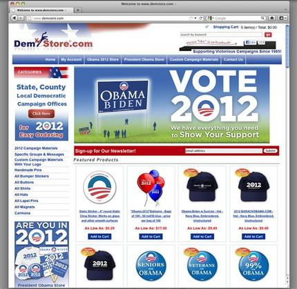 """This image obtained by The Associated Press shows the website of Demstore.com, which sells President Barack Obama 2012 re-election material. President Barack Obama's re-election campaign is suing a website that sells T-shirts, bumper stickers and buttons with the campaign's signature """"O"""" logo, claiming the store is infringing on its trademark. (AP Photo)"""